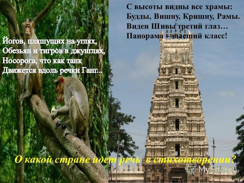 О какой стране идет речь в стихотворении? С высоты видны все храмы: Будды, Вишну, Кришну, Рамы. Виден Шивы третий глаз… Панорама – высший класс!