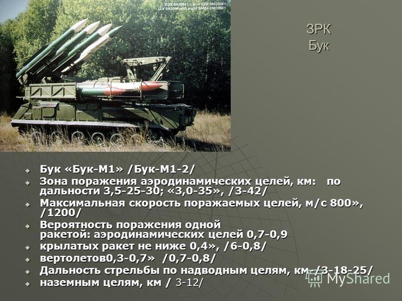 ЗРК Бук Бук «Бук-М1» /Бук-М1-2/ Бук «Бук-М1» /Бук-М1-2/ Зона поражения аэродинамических целей, км: по дальности 3,5-25-30; «3,0-35», /3-42/ Зона поражения аэродинамических целей, км: по дальности 3,5-25-30; «3,0-35», /3-42/ Максимальная скорость пора