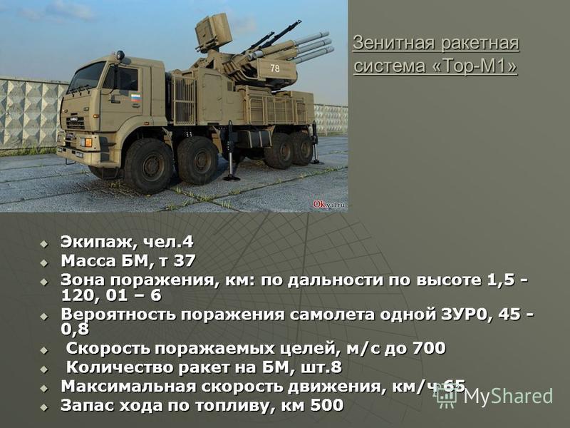 Зенитная ракетная система «Тор-M1» Экипаж, чел.4 Экипаж, чел.4 Масса БМ, т 37 Масса БМ, т 37 Зона поражения, км: по дальности по высоте 1,5 - 120, 01 – 6 Зона поражения, км: по дальности по высоте 1,5 - 120, 01 – 6 Вероятность поражения самолета одно