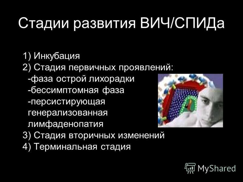 Стадии развития ВИЧ/СПИДа 1) Инкубация 2) Стадия первичных проявлений: -фаза острой лихорадки -бессимптомная фаза -персистирующая генерализованная лимфаденопатия 3) Стадия вторичных изменений 4) Терминальная стадия