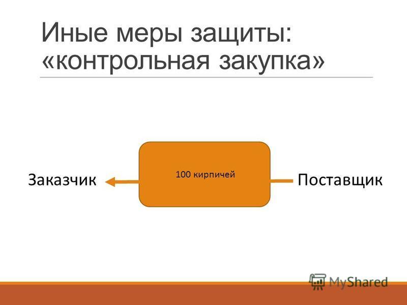 Иные меры защиты: «контрольная закупка» ЗаказчикПоставщик 100 кирпичей