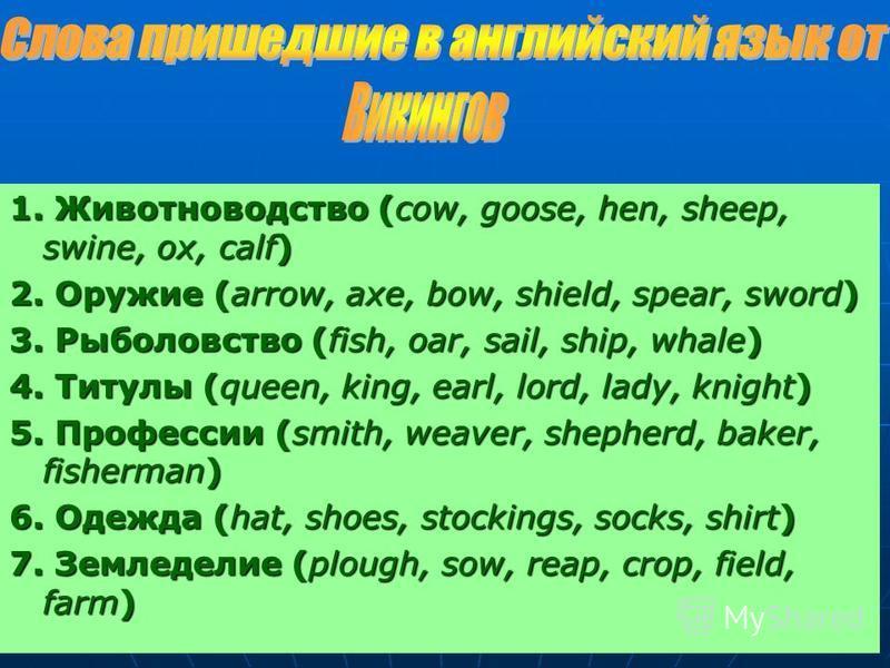 1. Животноводство (сow, goose, hen, sheep, swine, ox, calf) 2. Оружие (arrow, axe, bow, shield, spear, sword) 3. Рыболовство (fish, oar, sail, ship, whale) 4. Титулы (queen, king, earl, lord, lady, knight) 5. Профессии (smith, weaver, shepherd, baker