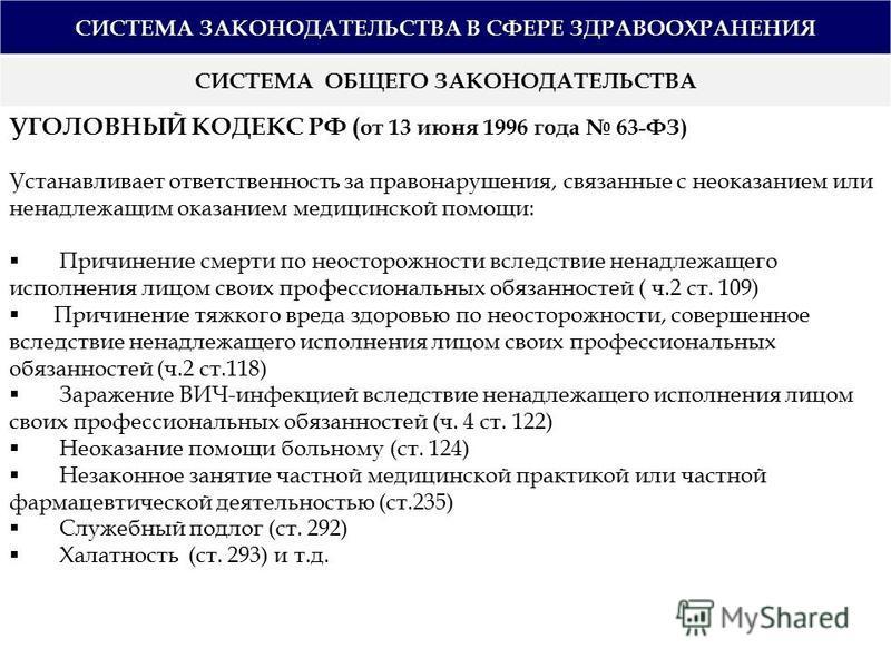 СИСТЕМА ЗАКОНОДАТЕЛЬСТВА В СФЕРЕ ЗДРАВООХРАНЕНИЯ СИСТЕМА ОБЩЕГО ЗАКОНОДАТЕЛЬСТВА УГОЛОВНЫЙ КОДЕКС РФ ( от 13 июня 1996 года 63-ФЗ) Устанавливает ответственность за правонарушения, связанные с неоказанием или ненадлежащим оказанием медицинской помощи: