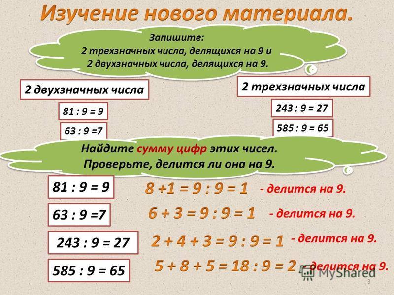 3 Запишите: 2 трехзначных числа, делящихся на 9 и 2 двухзначных числа, делящихся на 9. Запишите: 2 трехзначных числа, делящихся на 9 и 2 двухзначных числа, делящихся на 9. 243 : 9 = 27 585 : 9 = 65 2 трехзначных числа 81 : 9 = 9 63 : 9 =7 2 двухзначн