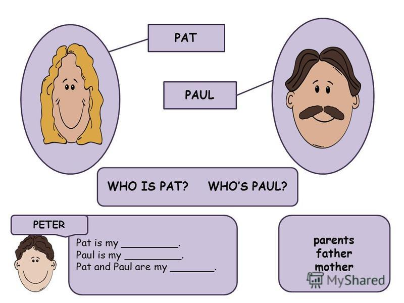 PAT PAUL WHO IS PAT? WHOS PAUL? Pat is my _________. Paul is my _________. Pat and Paul are my _______. parents father mother PETER