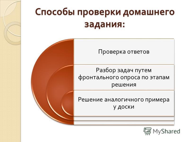 Способы проверки домашнего задания : Проверка ответов Разбор задач путем фронтального опроса по этапам решения Решение аналогичного примера у доски