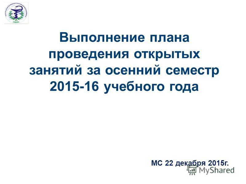 Выполнение плана проведения открытых занятий за осенний семестр 2015-16 учебного года МС 22 декабря 2015 г.