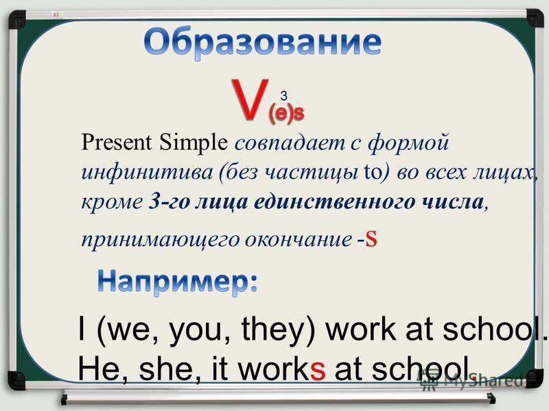 I (we, you, they) work at school. He, she, it works at school. Present Simple совпадает с формой инфинитива (без частицы to) во всех лицах, кроме 3-го лица единственного числа, принимающего окончание - s 3