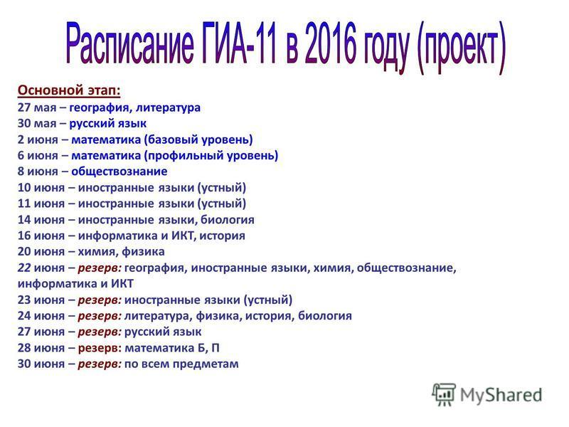 Основной этап: 27 мая – география, литература 30 мая – русский язык 2 июня – математика (базовый уровень) 6 июня – математика (профильный уровень) 8 июня – обществознание 10 июня – иностранные языки (устный) 11 июня – иностранные языки (устный) 14 ию