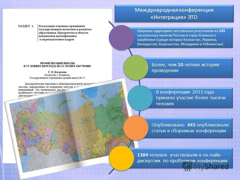 Международная конференция «Интеграция» ЭТО Широкая аудиторию постоянных участников из 153 населенных пунктов России и стран ближнего зарубежья (среди которых Казахстан, Украина, Белоруссия, Кыргызстан, Молдавия и Узбекистан) Более, чем 10-летняя исто