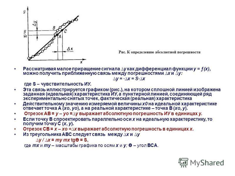 Рассматривая малое приращение сигнала у как дифференциал функции у = ƒ(х), можно получить приближенную связь между погрешностями х и у: у = ·х = S·х где S – чувствительность ИУ. Эта связь иллюстрируется графиком (рис.), на котором сплошной линией изо