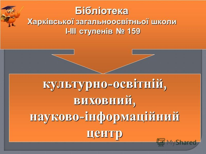 культурно - освітній, виховний, науково - інформаційний центр Бібліотека Харківської загальноосвітньої школи І-ІІІ ступенів 159