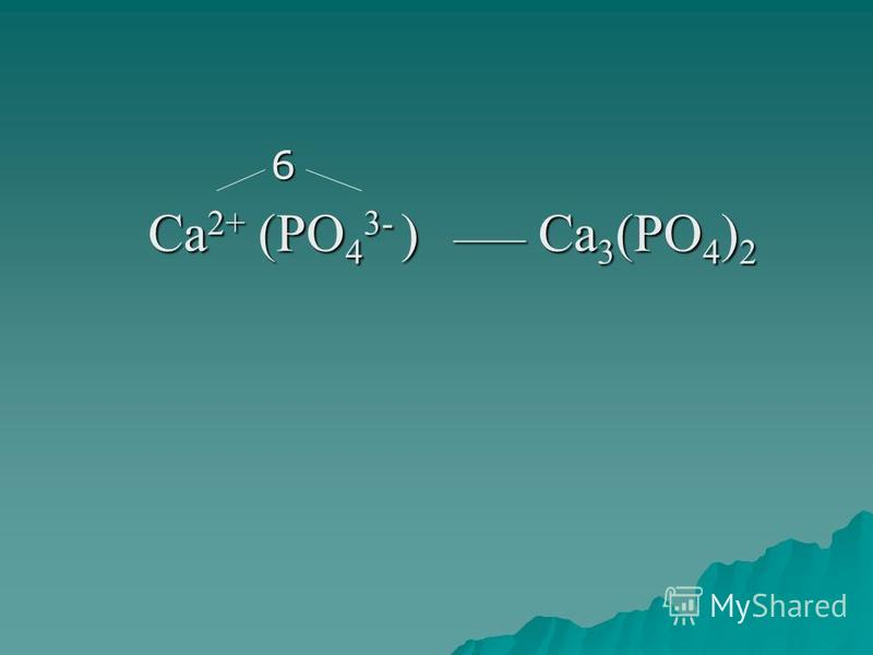 6 Ca 2+ (PO 4 3- ) ____ Ca 3 (PO 4 ) 2 Ca 2+ (PO 4 3- ) ____ Ca 3 (PO 4 ) 2