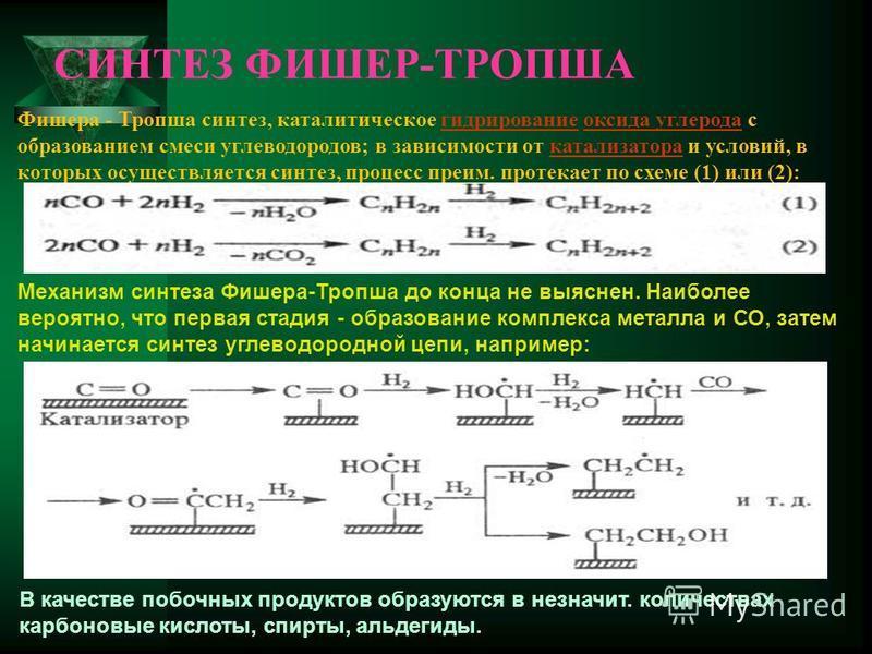 СИНТЕЗ ФИШЕР-ТРОПША Механизм синтеза Фишера-Тропша до конца не выяснен. Наиболее вероятно, что первая стадия - образование комплекса металла и СО, затем начинается синтез углеводородной цепи, например: В качестве побочных продуктов образуются в не зн