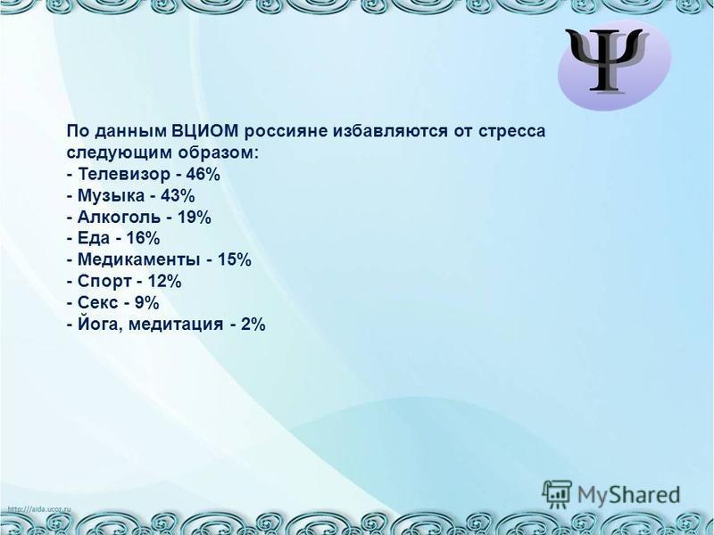По данным ВЦИОМ россияне избавляются от стресса следующим образом: - Телевизор - 46% - Музыка - 43% - Алкоголь - 19% - Еда - 16% - Медикаменты - 15% - Спорт - 12% - Секс - 9% - Йога, медитация - 2%