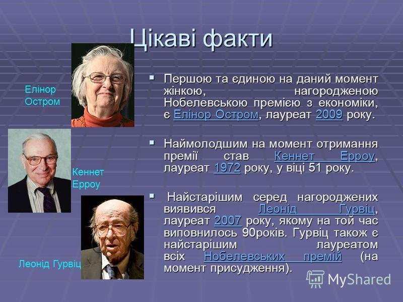 Цікаві факти Першою та єдиною на даний момент жінкою, нагородженою Нобелевською премією з економіки, є Елінор Остром, лауреат 2009 року. Першою та єдиною на даний момент жінкою, нагородженою Нобелевською премією з економіки, є Елінор Остром, лауреат