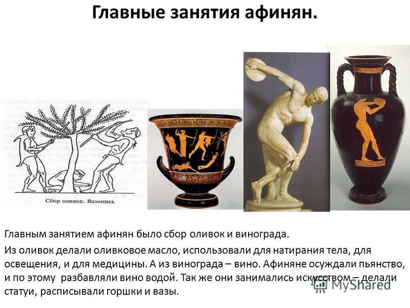 Главные занятия афинян. Главным занятием афинян было сбор оливок и винограда. Из оливок делали оливковое масло, использовали для натирания тела, для освещения, и для медицины. А из винограда – вино. Афиняне осуждали пьянство, и по этому разбавляли ви