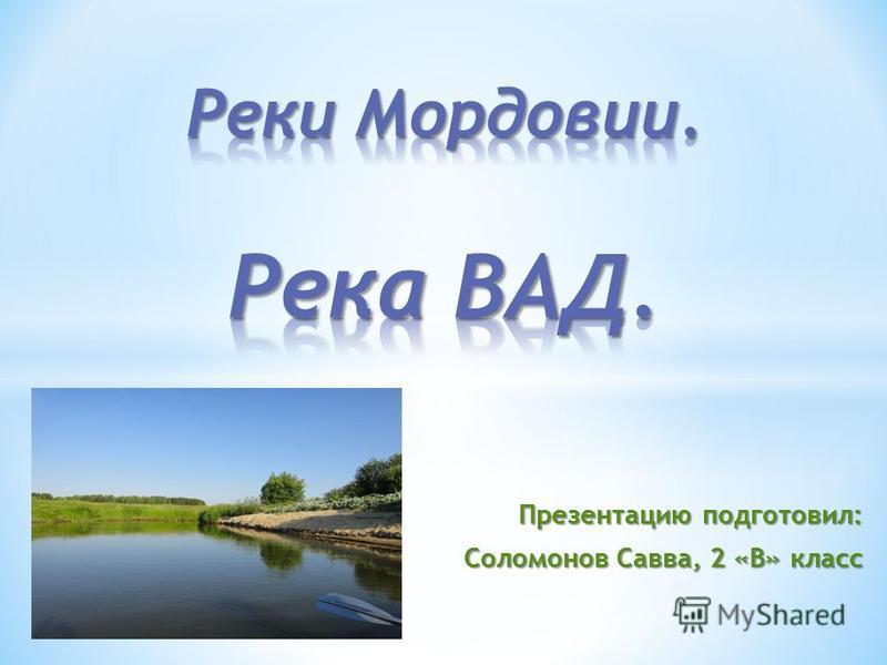 Презентацию подготовил: Соломонов Савва, 2 «В» класс