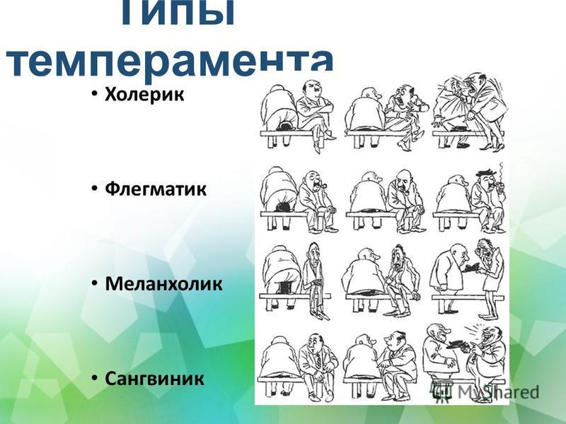 Типы темперамента Холерик Флегматик Меланхолик Сангвиник