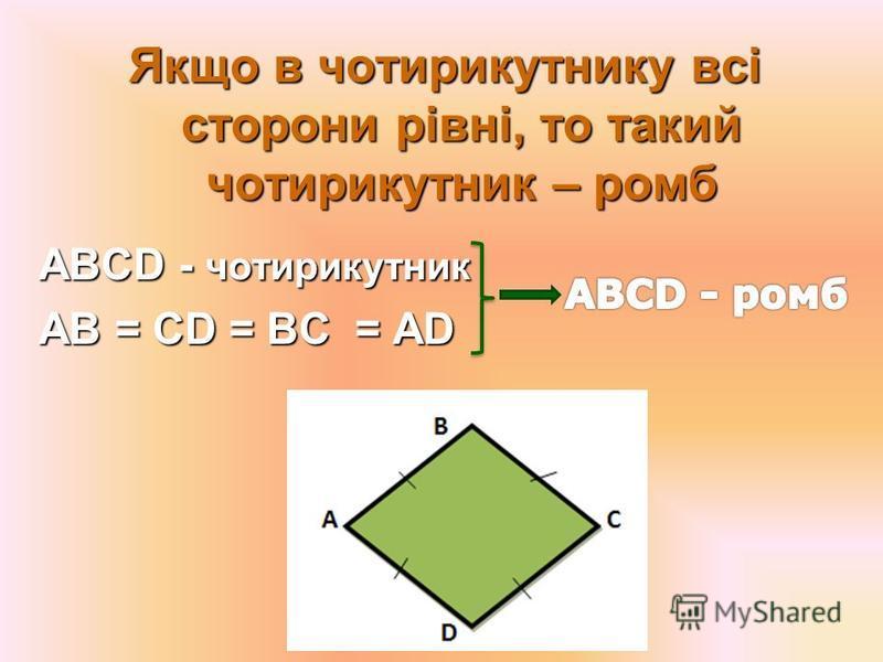 Якщо діагоналі паралелограма є бісектрисами його кутів, то даний паралелограм є ромбом Якщо діагоналі паралелограма є бісектрисами його кутів, то даний паралелограм є ромбом АВCD - паралелограм AC – бісектриса А СА – бісектриса С