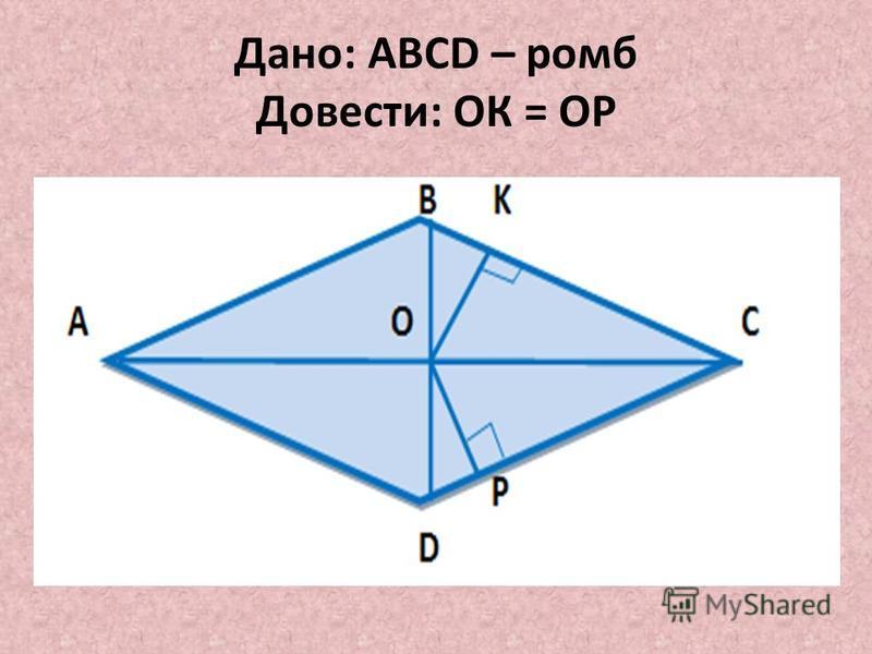 Дано: ABCD – ромб Довести: ОК = ОР