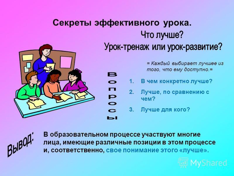 Секреты эффективного урока. = Каждый выбирает лучшее из того, что ему доступно.= 1. В чем конкретно лучше? 2.Лучше, по сравнению с чем? 3. Лучше для кого? В образовательном процессе участвуют многие лица, имеющие различные позиции в этом процессе и,