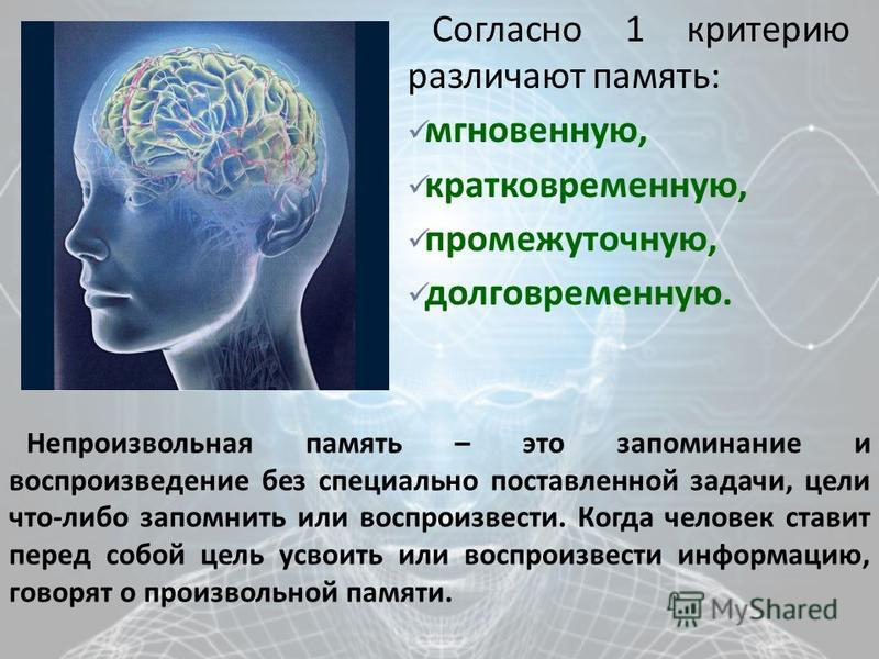 Согласно 1 критерию различают память : мгновенную, кратковременную, промежуточную, долговременную. Непроизвольная память – это запоминание и воспроизведение без специально поставленной задачи, цели что - либо запомнить или воспроизвести. Когда челове