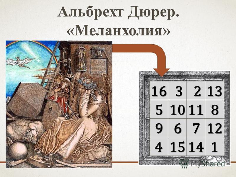 Альбрехт Дюрер. «Меланхолия»16 3 213 51011 8 9 6 712 4 1514 1