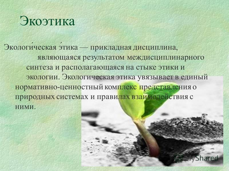 Экоэтика Экологи́чешская э́тика прикладная дисциплина, являющаяся результатом междисциплинарного синтеза и располагающаяся на стыке этики и экологии. Экологичешская этика увязывает в единый нормативно-ценностный комплекс представления о природных сис