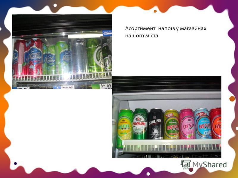 Асортимент напоїв у магазинах нашого міста