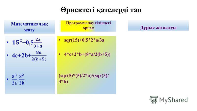 Өрнектегі қателерді тап Математикалық жазу Программалау тіліндегі өрнек sqr(15)+0.5*2*a/3a 4*c+2*b+(8*a/2(b+5)) (sqr(5)*(5)/2*a)/(sqr(3)/ 3*b) Дұрыс жазылуы