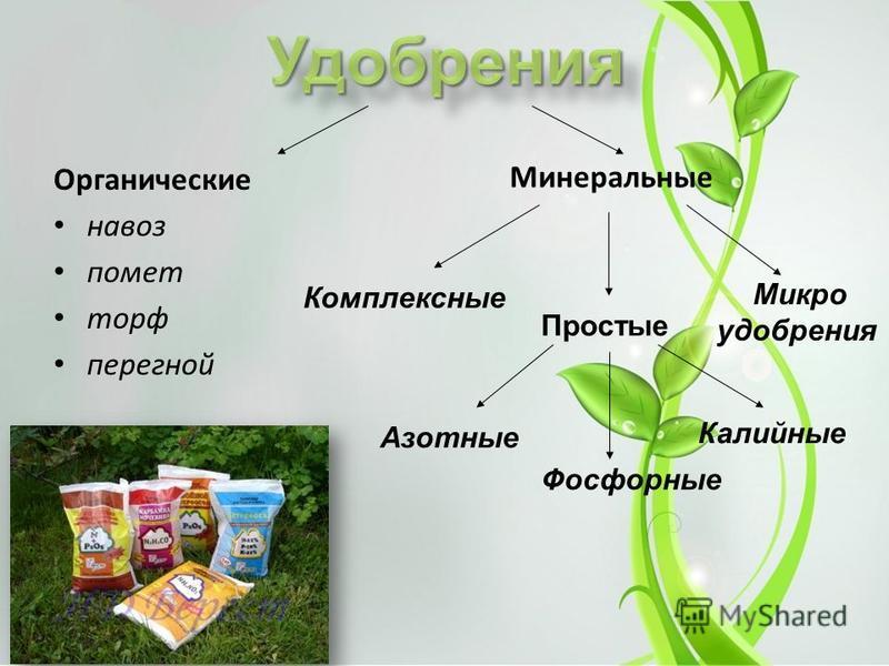 Органические навоз помет торф перегной Минеральные Азотные Фосфорные Калийные Комплексные Микро удобрения Простые