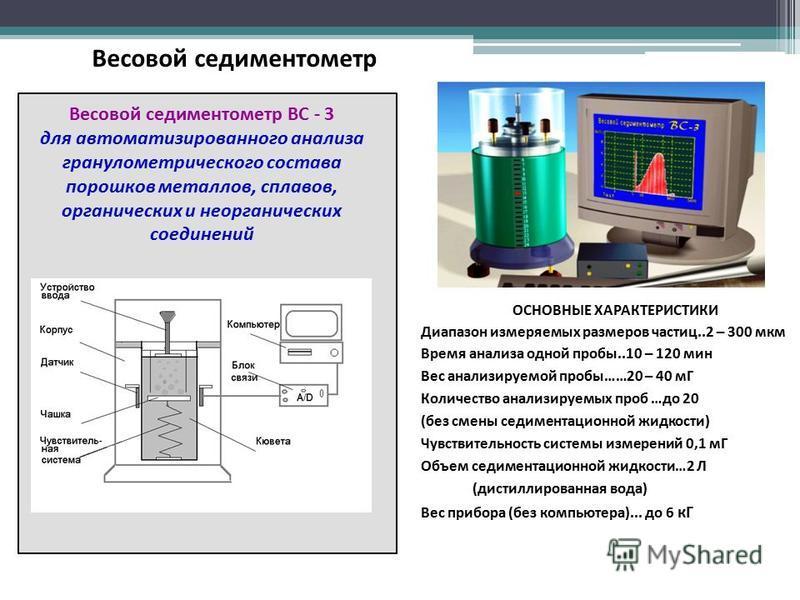 Весовой седиментометр ВС - 3 для автоматизированного анализа гранулометрического состава порошков металлов, сплавов, органических и неорганических соединений ОСНОВНЫЕ ХАРАКТЕРИСТИКИ Диапазон измеряемых размеров частиц..2 – 300 мкм Время анализа одной
