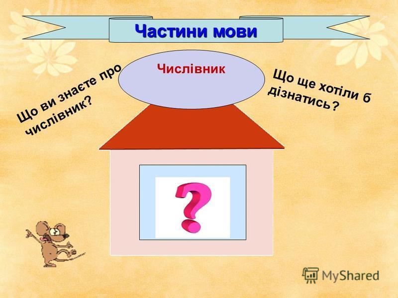 Частини мови Сім шостий Що ви знаєте про числівник? Що ще хотіли б дізнатись? Числівник