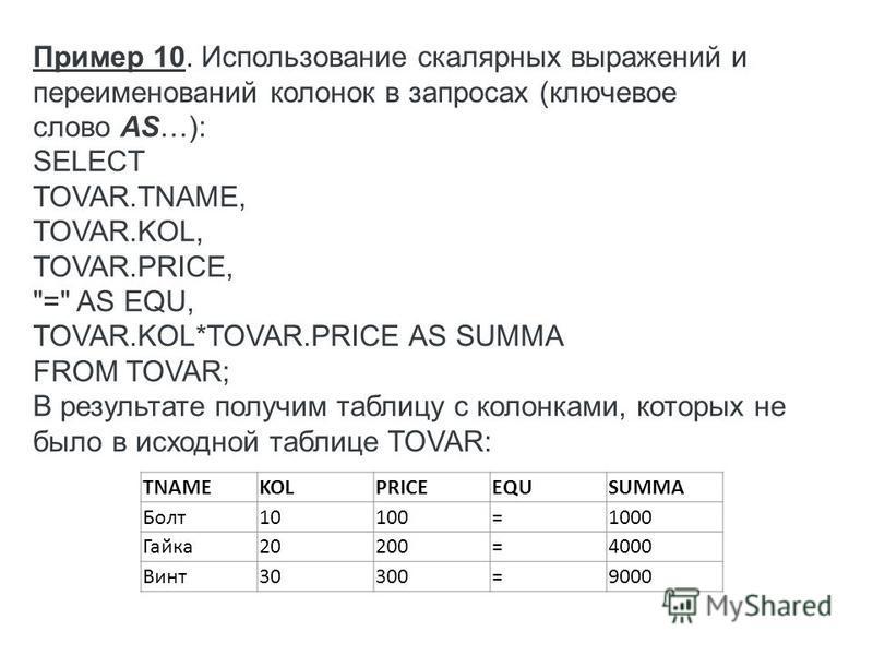 TNAMEKOLPRICEEQUSUMMA Болт 10100=1000 Гайка 20200=4000 Винт 30300=9000 Пример 10. Использование скалярных выражений и переименований колонок в запросах (ключевое слово AS…): SELECT TOVAR.TNAME, TOVAR.KOL, TOVAR.PRICE,