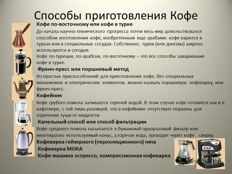 Способы приготовления Кофе Кофе по-восточному или кофе в турке До начала научно-технического прогресса почти весь мир довольствовался способом изготовления кофе, изобретенным еще арабами: кофе варился в турках или в специальных сосудах. Собственно, т