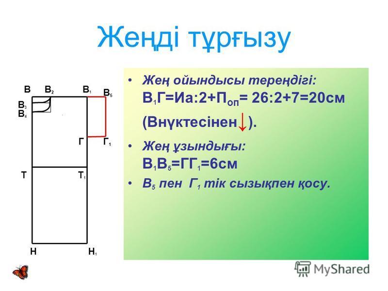 Жеңді тұрғызу Жең ойындысы тереңдігі: В 1 Г=Иа:2+П оп = 26:2+7=20см (Внүктесінен ). Жең ұзындығы: В 1 В 5 =ГГ 1 =6см В 5 пен Г 1 тік сызықпен қосу. В В 2 В 1 Т Т 1 Г Н Н 1 В3В3 В4В4 В 5 Г 1