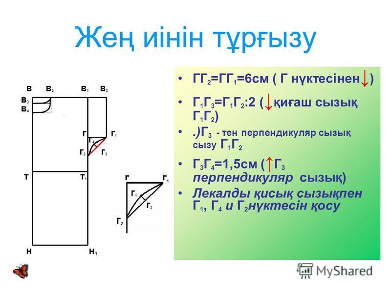 Жең иінін тұрғызу ГГ 2 =ГГ 1 =6см ( Г нүктесінен ) Г 1 Г 3 =Г 1 Г 2 :2 ( қиғаш сызық Г 1 Г 2 ).)Г 3 - тен перпендикуляр сызық сызу Г 1 Г 2 Г 3 Г 4 =1,5см ( Г 3 перпендикуляр сызық) Лекалды қисық сызықпен Г 1, Г 4 и Г 2 нүктесін қосу в в 2 в 1 в 3 в3в