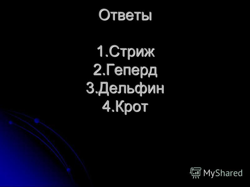 Ответы Ответы 1. Стриж 2. Геперд 3. Дельфин 4.Крот