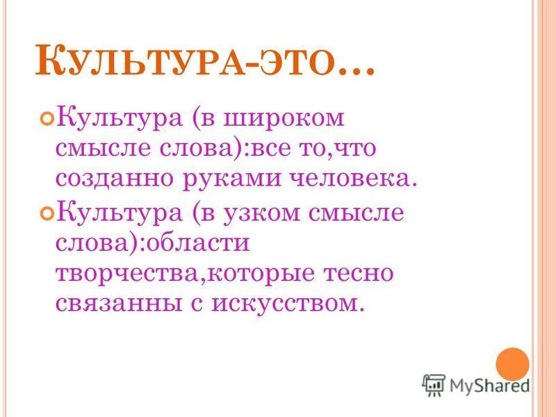 К УЛЬТУРА. Ф ОРМЫ КУЛЬТУРЫ.