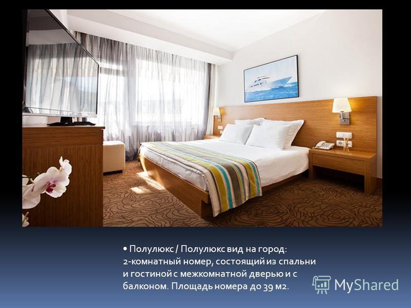 Полулюкс / Полулюкс вид на город: 2-комнатный номер, состоящий из спальни и гостиной с межкомнатной дверью и с балконом. Площадь номера до 39 м 2.