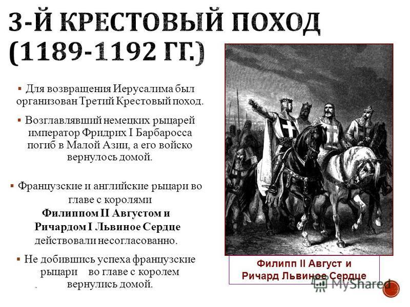 Для возвращения Иерусалима был организован Третий Крестовый поход. Возглавлявший немецких рыцарей император Фридрих I Барбаросса погиб в Малой Азии, а его войско вернулось домой. Французские и английские рыцари во главе с королями Филиппом II Августо