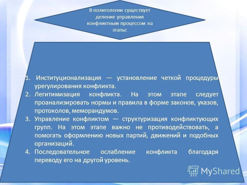 В политологии существует деление управления конфликтным процессом на этапы: 1. Институционализация установление четкой процедуры урегулирования конфликта. 2. Легитимизация конфликта. На этом этапе следует проанализировать нормы и правила в форме зако