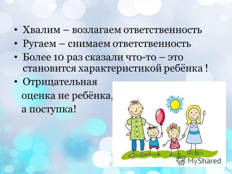 Хвалим – возлагаем ответственность Ругаем – снимаем ответственность Более 10 раз сказали что-то – это становится характеристикой ребёнка ! Отрицательная оценка не ребёнка, а поступка!