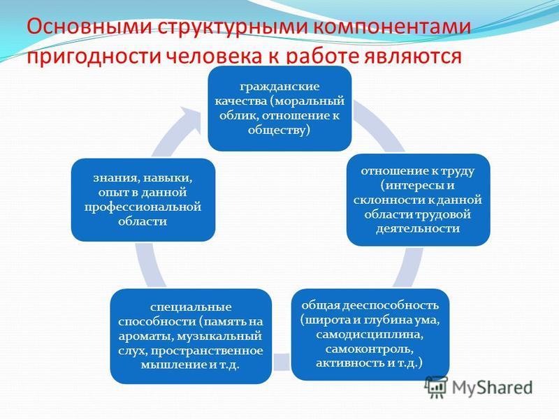 Основными структурными компонентами пригодности человека к работе являются гражданские качества (моральный облик, отношение к обществу) отношение к труду (интересы и склонности к данной области трудовой деятельности общая дееспособность (широта и глу