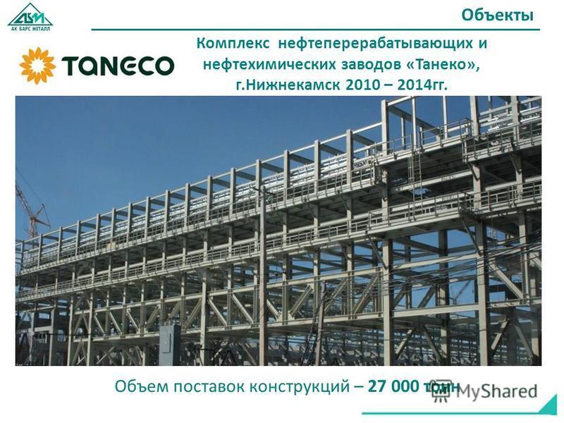 Комплекс нефтеперерабатывающих и нефтехимических заводов «Танеко», г.Нижнекамск 2010 – 2014 гг. Объекты Объем поставок конструкций – 27 000 тонн