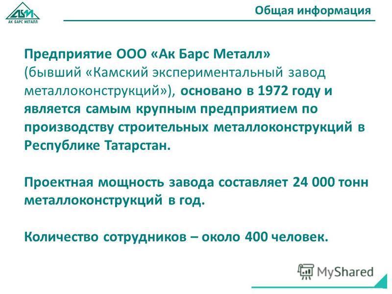 Предприятие ООО «Ак Барс Металл» (бывший «Камский экспериментальный завод металлоконструкций»), основано в 1972 году и является самым крупным предприятием по производству строительных металлоконструкций в Республике Татарстан. Проектная мощность заво