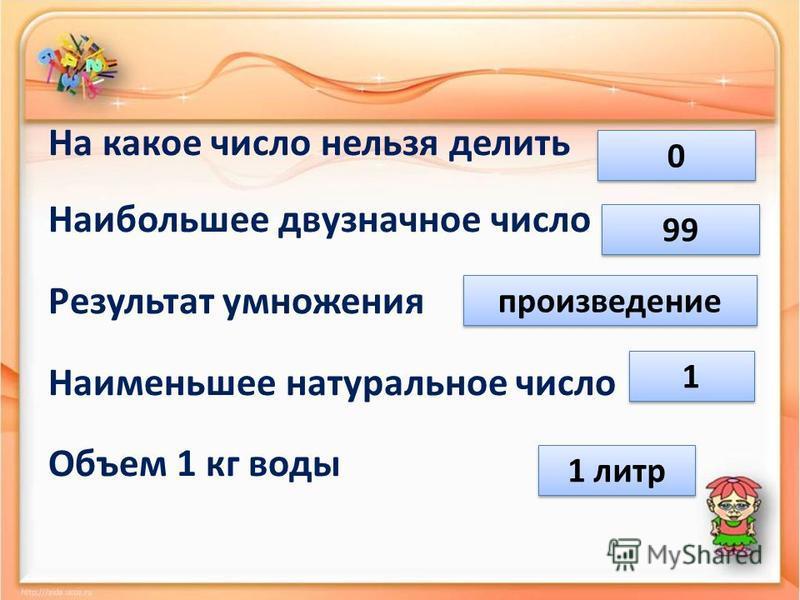 На какое число нельзя делить Наибольшее двузначное число Результат умножения Наименьшее натуральное число Объем 1 кг воды 0 0 99 произведение 1 1 1 литр