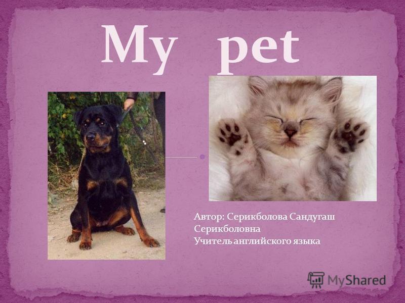 My pet Автор: Серикболова Сандугаш Серикболовна Учитель английского языка