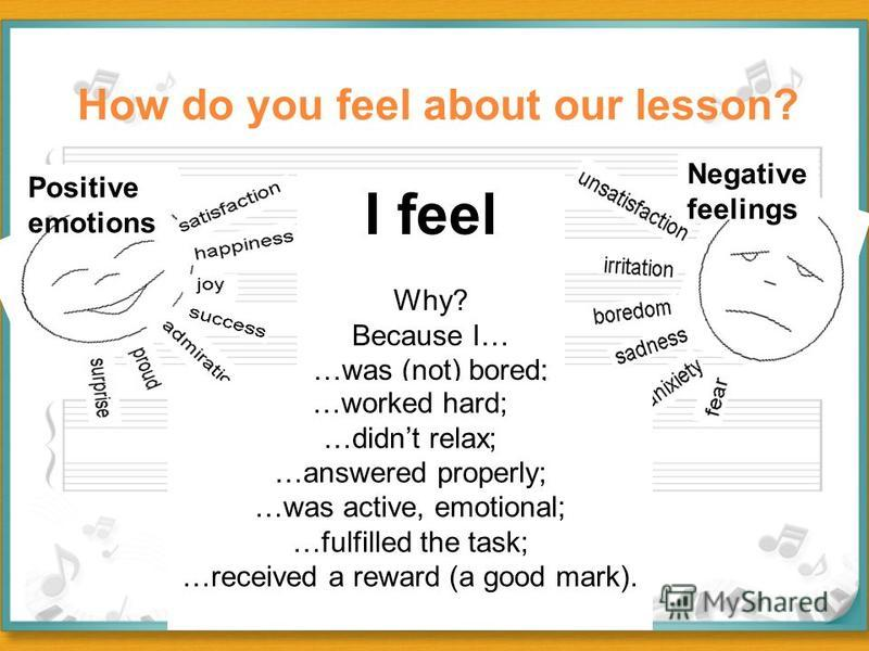 I feel Why? Because I… …was (not) bored; Positive emotions Negative feelings …worked hard; …didnt relax; …answered properly; …was active, emotional; …fulfilled the task; …received a reward (a good mark). How do you feel about our lesson?